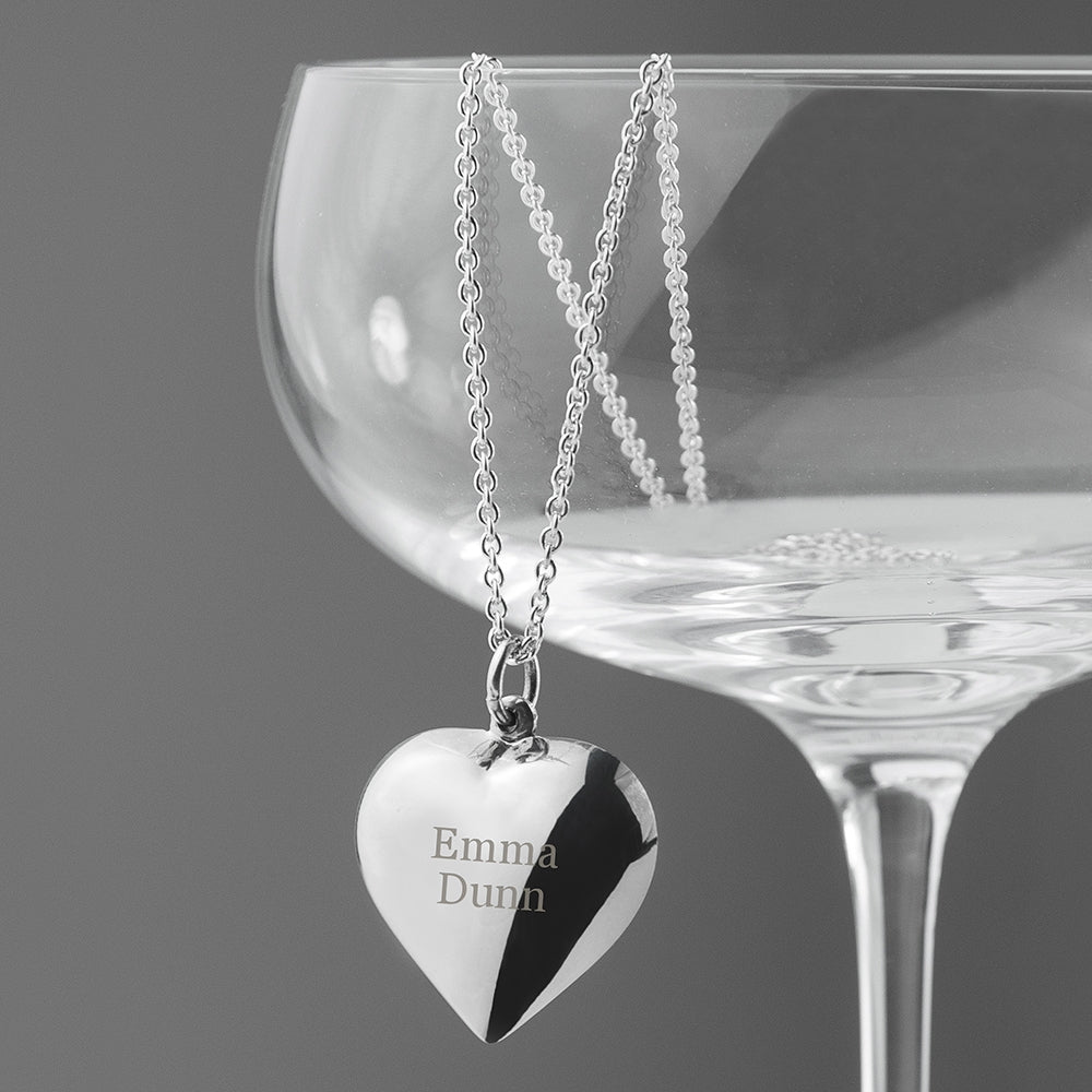 Personalised Silver Cherish Heart Necklace - Oh My Gift