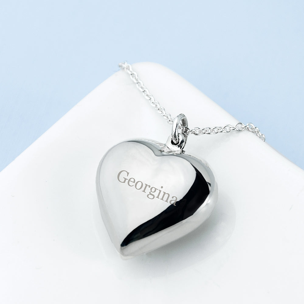 Personalised Silver Cherish Heart Necklace - Gift for the one you love - My Gift