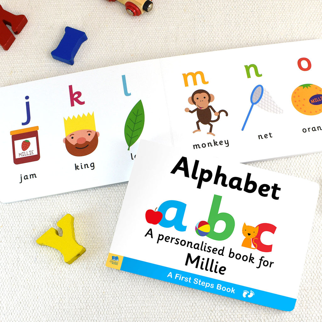 Personalised First Steps Alphabet Board Book - Oh My Gift