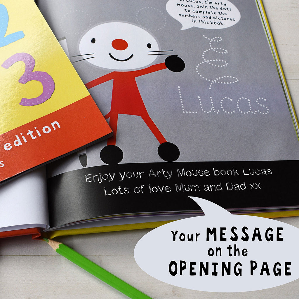 Arty Mouse Numbers Book Showing Personalised Message - Oh My Gift