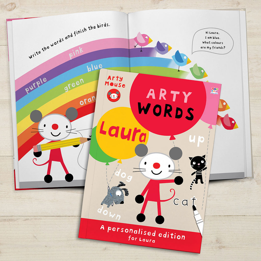 Personalised Arty Mouse Words Book Showing Open Page - Oh My Gift