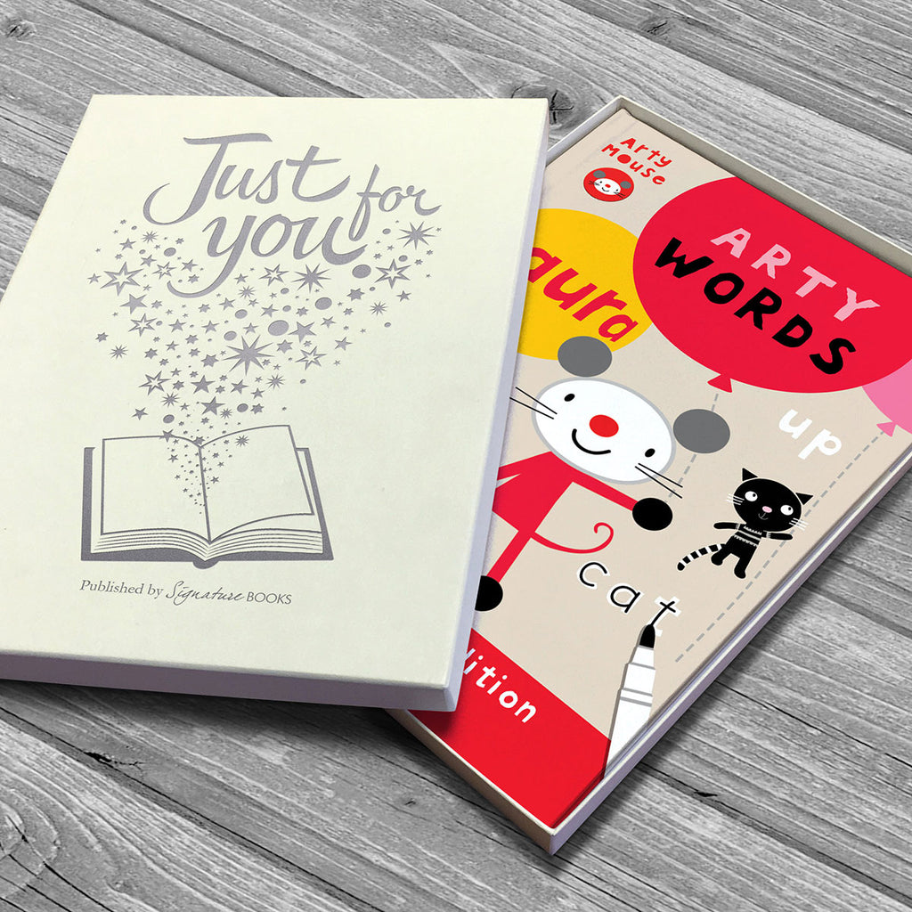 Personalised Arty Mouse Words Book - Oh My Gift - Optional Gift Box
