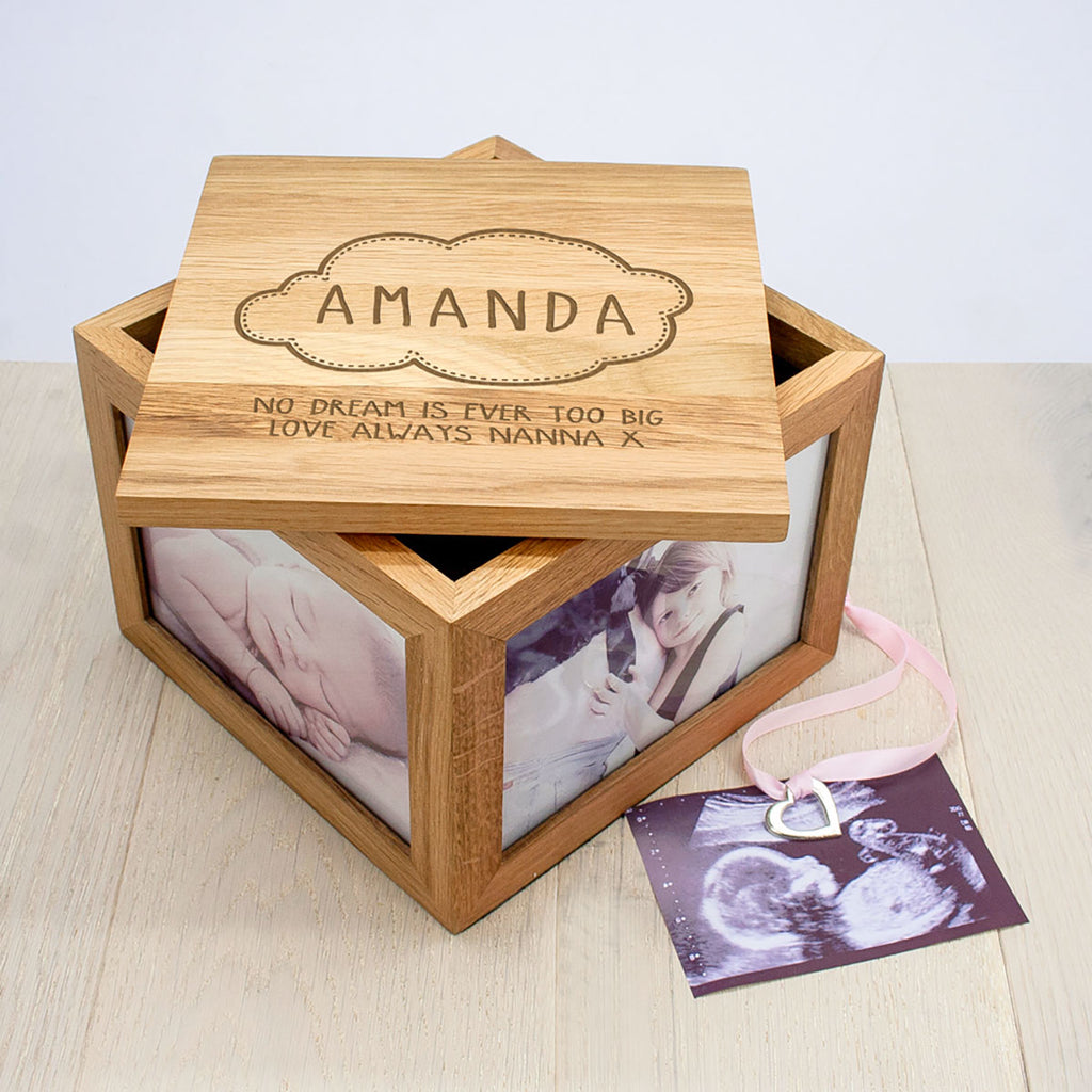 Personalised Baby Name Cloud Oak Photo Keepsake Box - Oh My Gift
