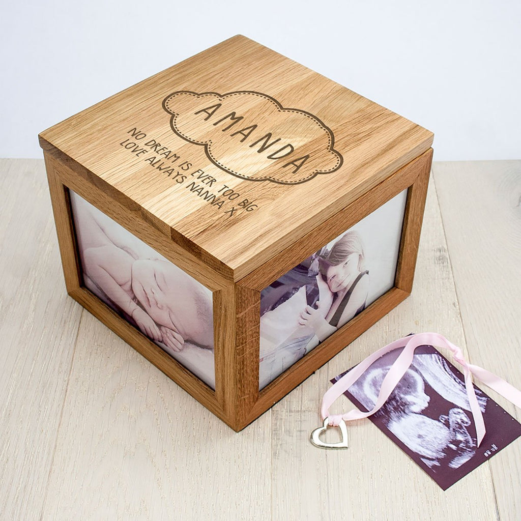 Personalised with Baby's Name Cloud Oak Photo Keepsake Box - Oh My Gift