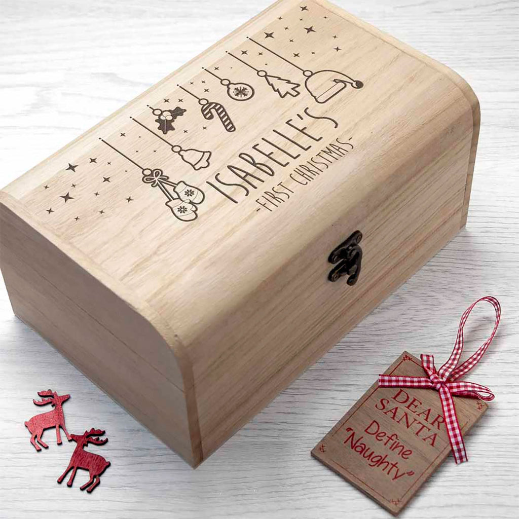 First Christmas Eve Chest Personalised with Baby's Name Side View - Oh My Gift