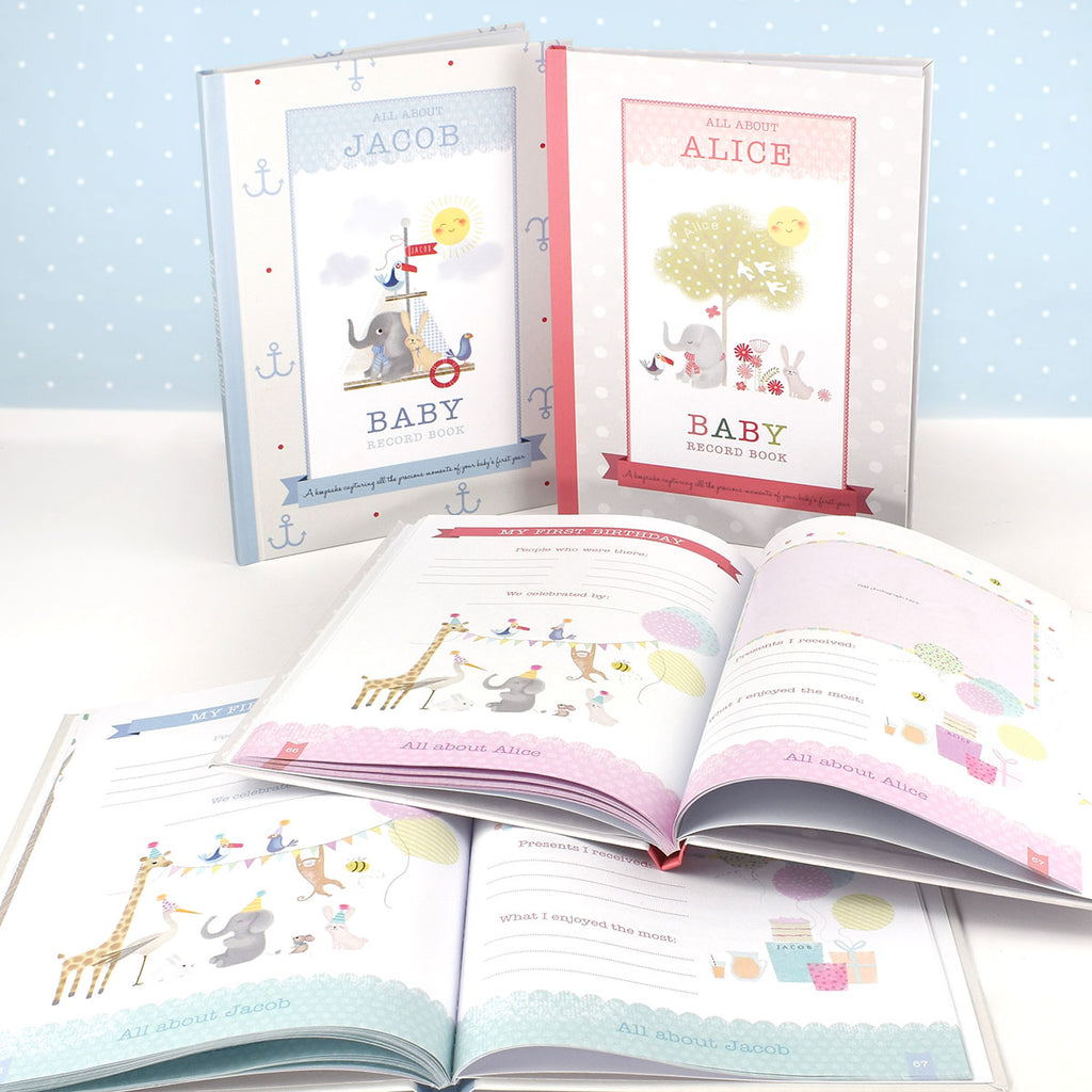 Display of Personalised Baby Record Books - Oh My Gift - for Boys & Girls