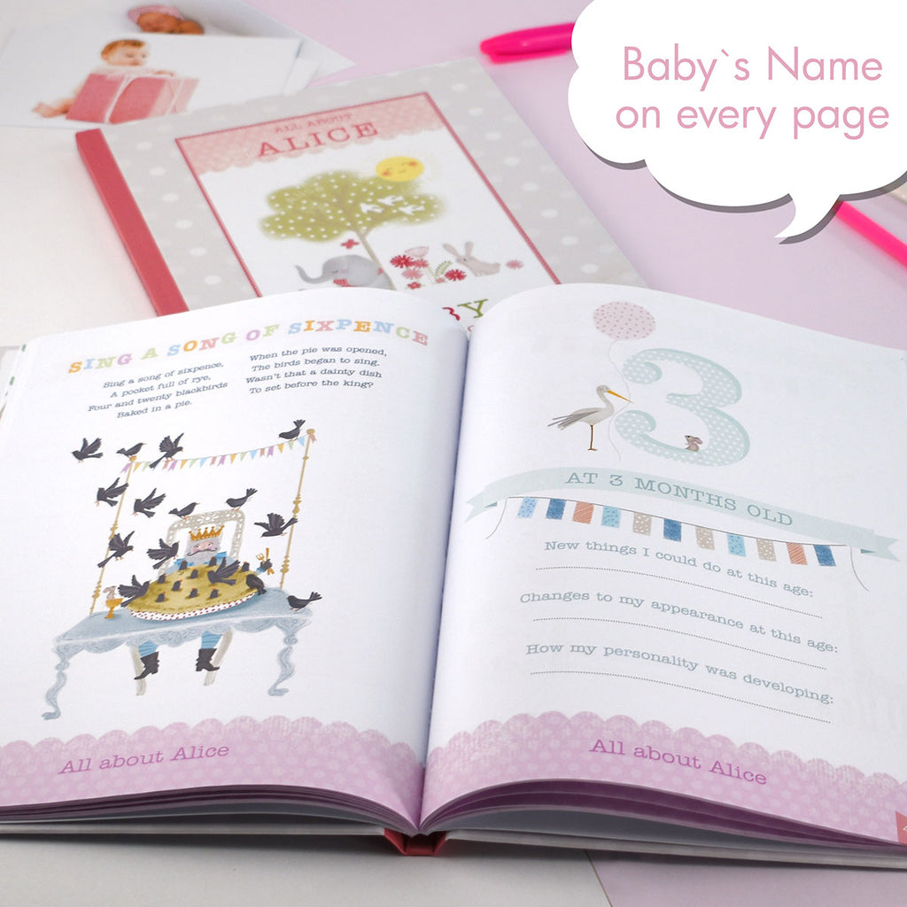 Personalised Baby Record Books - Boy & Girl - Oh My Gift - Baby's Name on Every Page