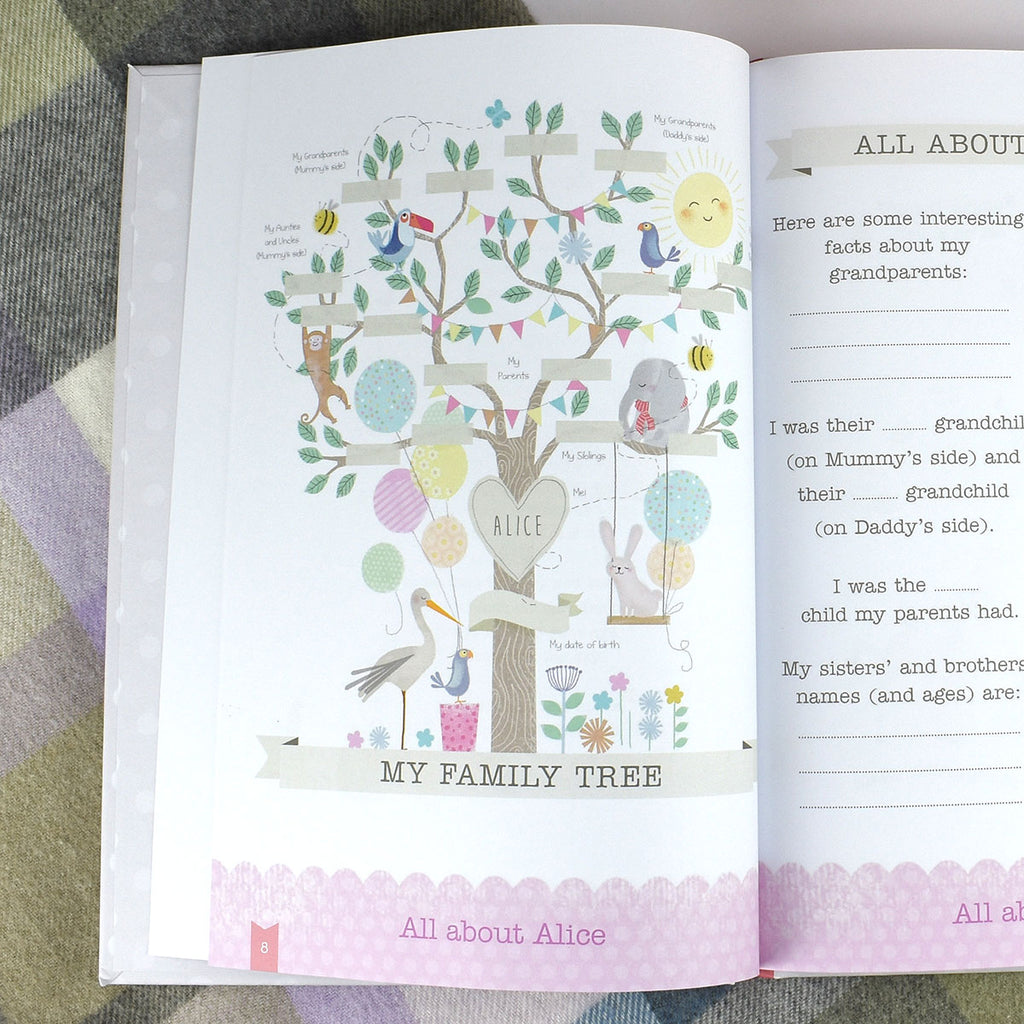 Personalised Baby Record Books - Boy & Girl - Oh My Gift - Showing Family Tree