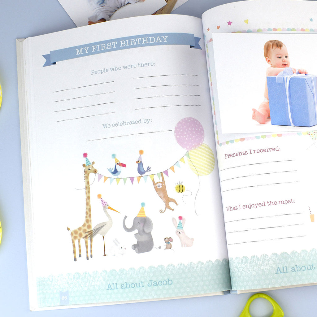 Personalised Baby Record Books - Boy & Girl - Oh My Gift - Showing Open Page
