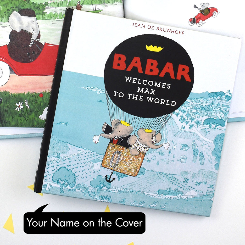 Personalised Babar Welcomes You to the World Book - Oh My Gift with Name on the cover