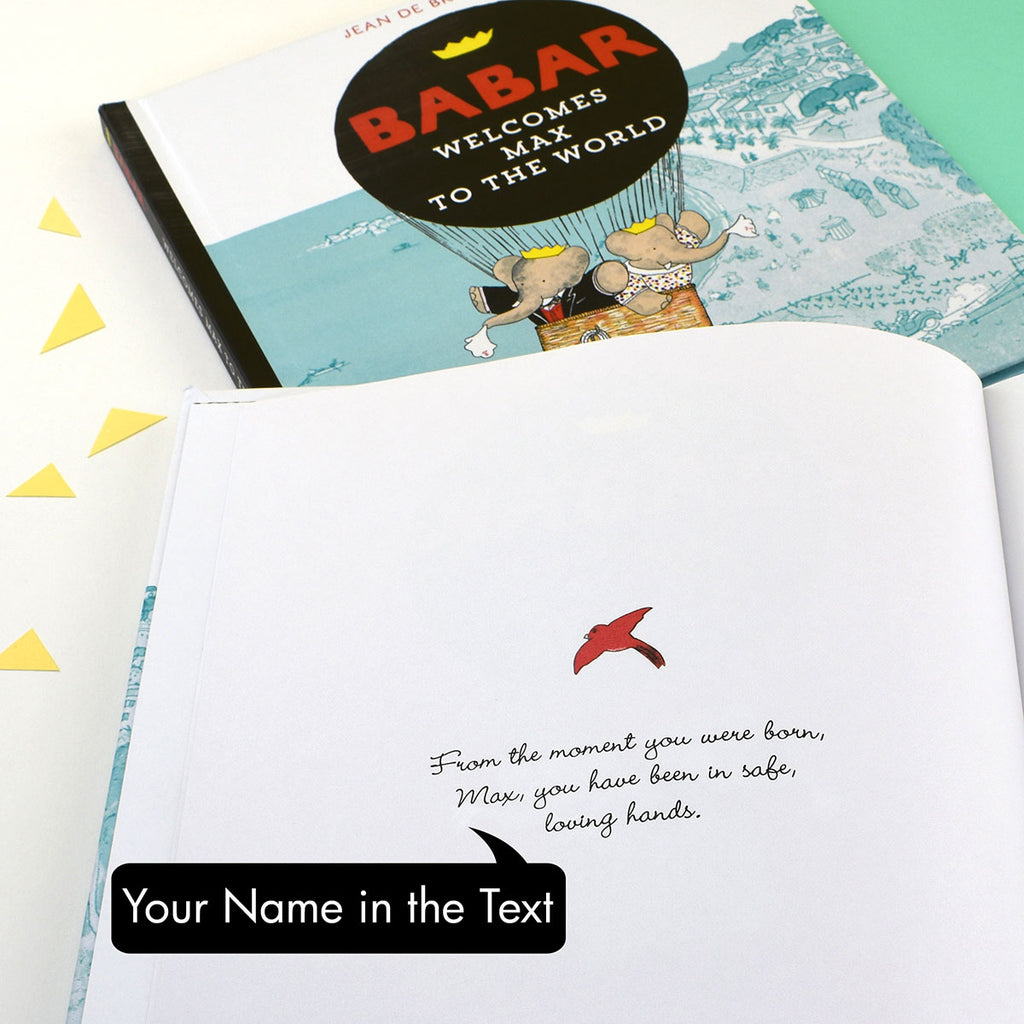 Personalised Babar Welcomes You to the World Book Showing Name of Child - Oh My Gift