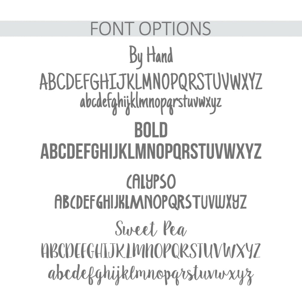 Personalised Biscuit Barrel Font Options - Oh My Gift