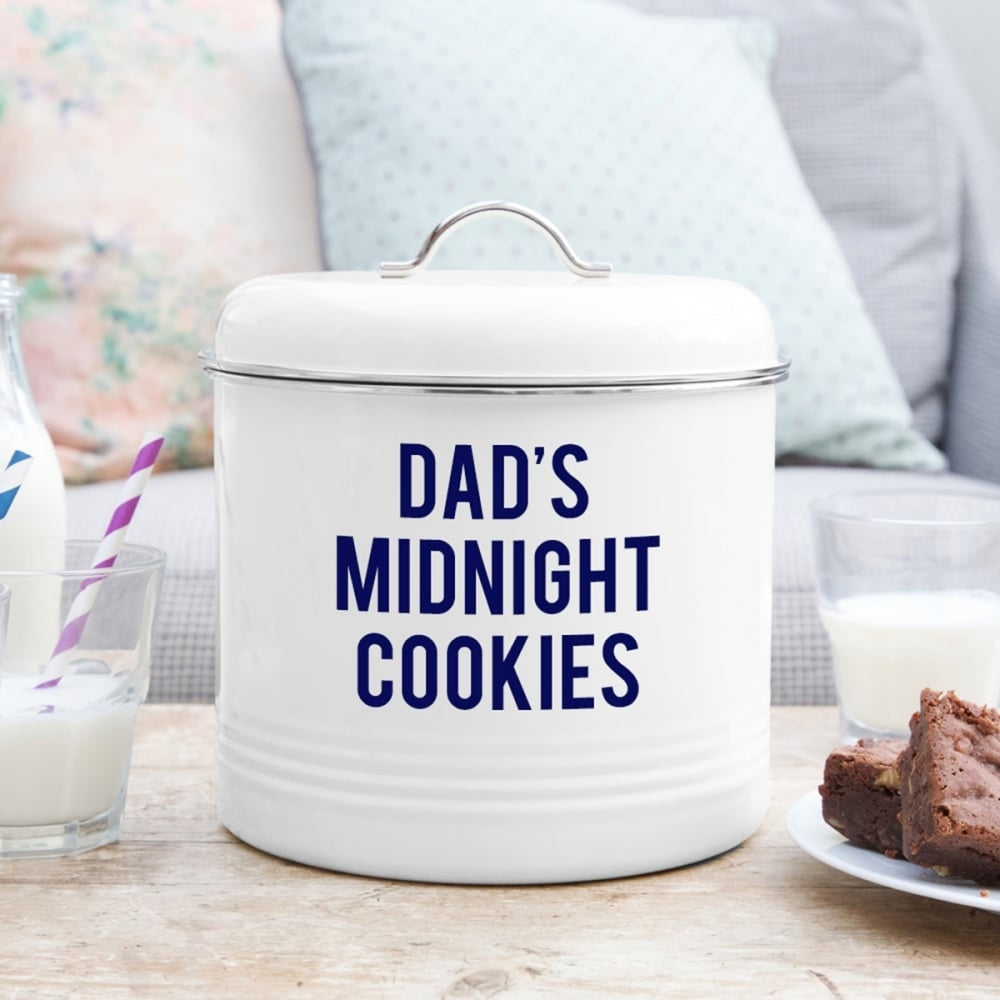 Personalised Enamel Biscuit Barrel for Dad - Oh My Gift