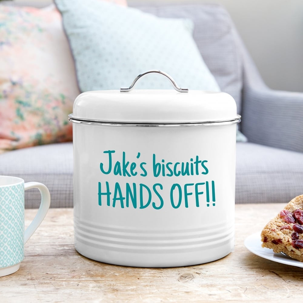 Enamel Biscuit Barrel with personalised name and message - Oh My Gift