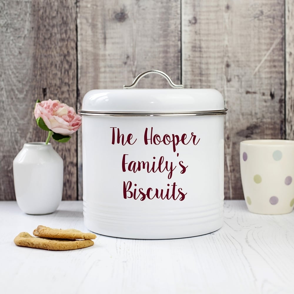 Personalised Enamel Biscuit Barrel with personalised name and message - Oh My Gift