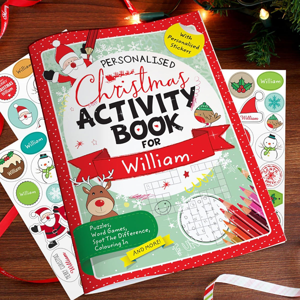 Personalised Christmas Activity Book Showing Stickers - Oh My Gift