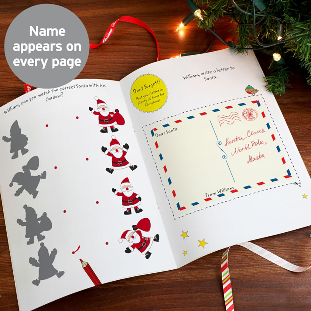 Personalised Christmas Activity Book open - Oh My Gift