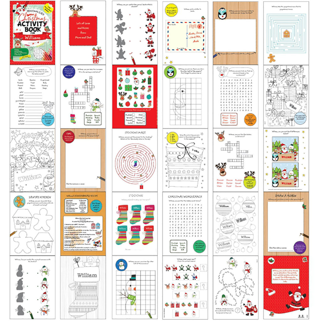 Personalised Christmas Activity Book Stickers - Oh My Gift