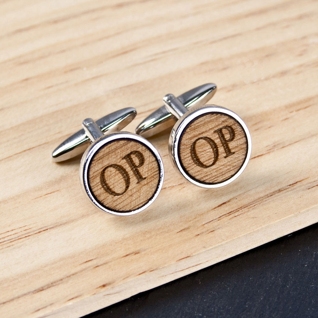 Personalised Circle Walnut Wood Cufflinks - Oh My Gift