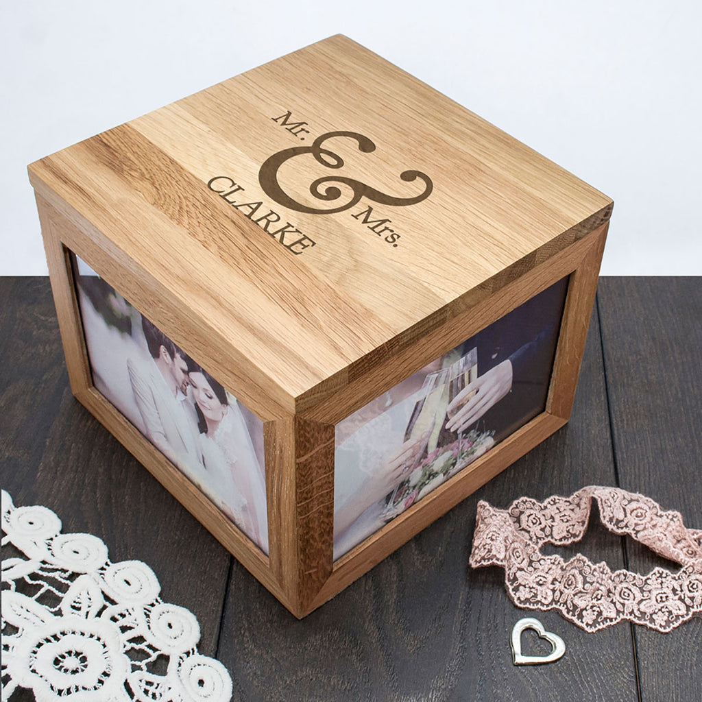 Classic Couples Photo Keepsake Box Personalised with Couple's Name - Oh My Gift