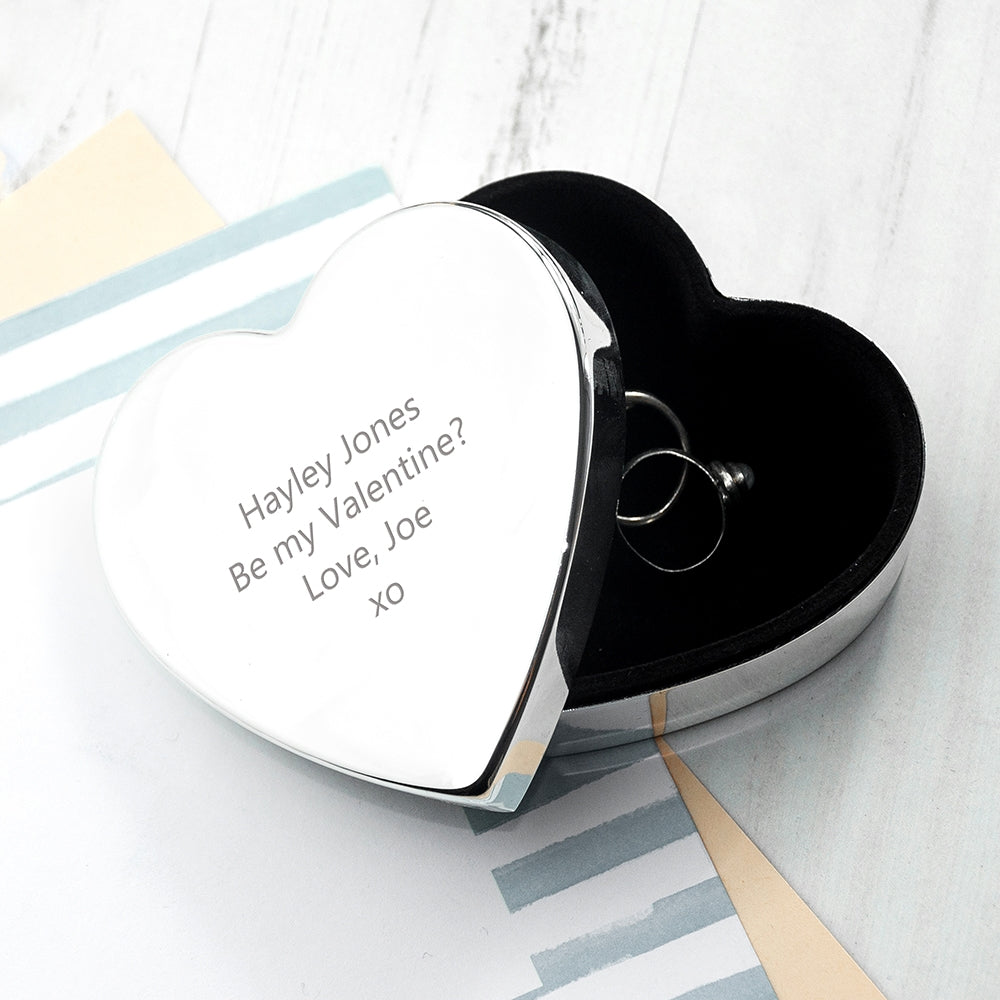 Personalised Classic Silver Heart Trinket Box with earrings - Oh My Gift