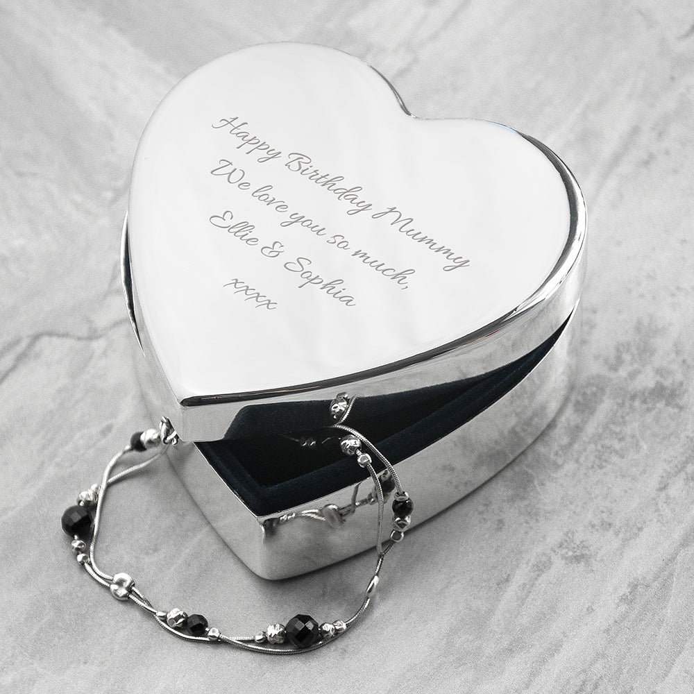 Personalised Classic Silver Heart Trinket Box with  Bracelet inside - Oh My Gift