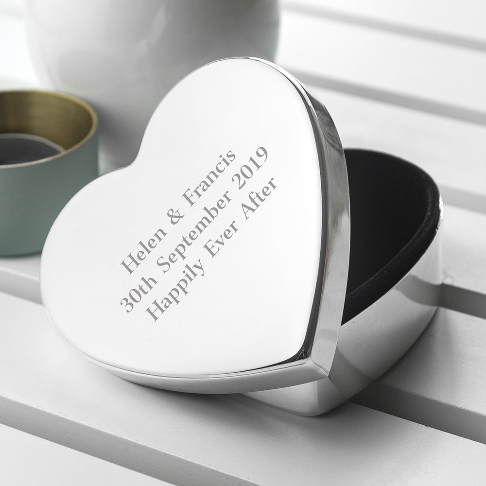 Personalised Classic Silver Heart Trinket Box with Lid off - Oh My Gift