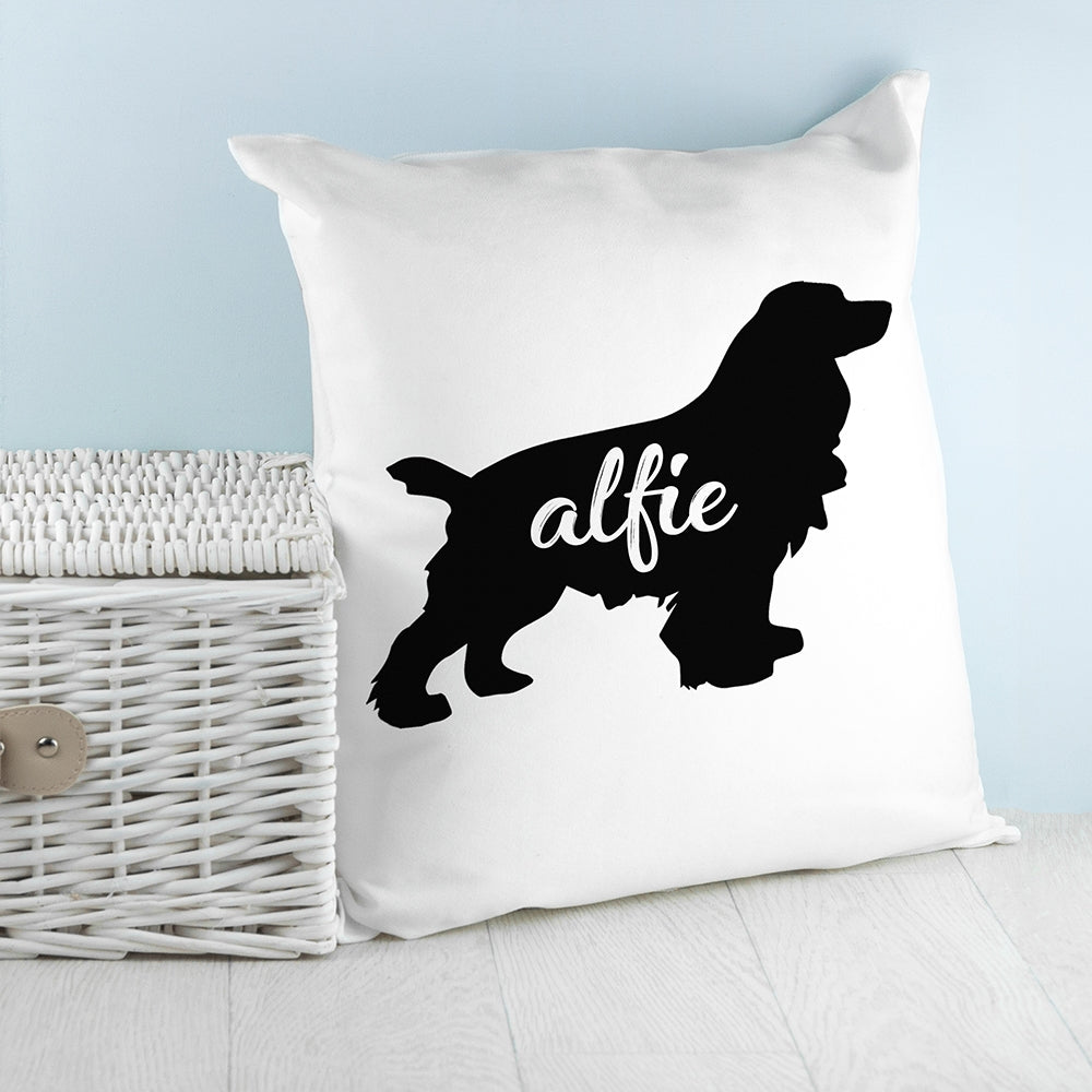 Personalised Cocker Spaniel Silhouette Cushion Cover - Perfect for Spaniel Lovers - Oh My Gift