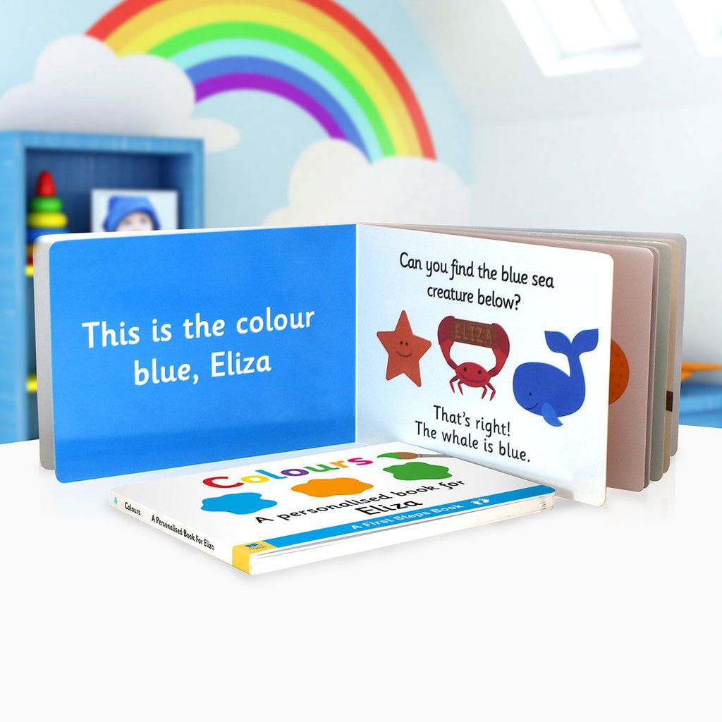 Personalised First Steps Colours Board Book on Display - Oh My Gift