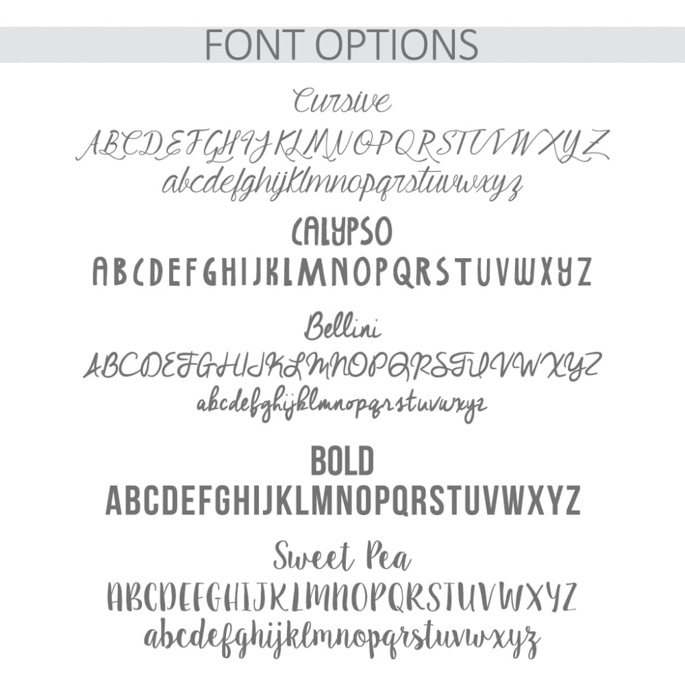 Personalised Cake Tin Font Options - Oh My Gift