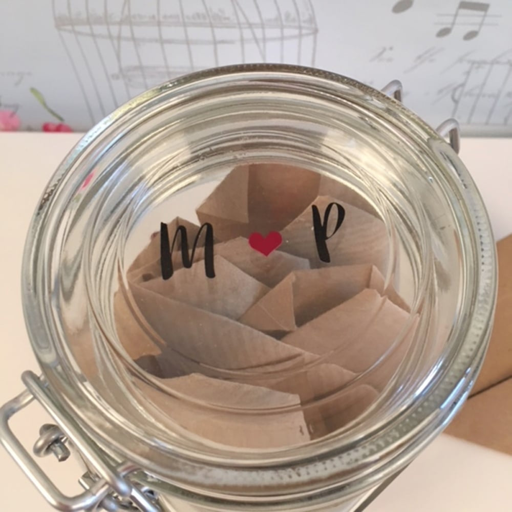 Personalised Date Night Wish Jar Showing Initials on Lid - Oh My Gift