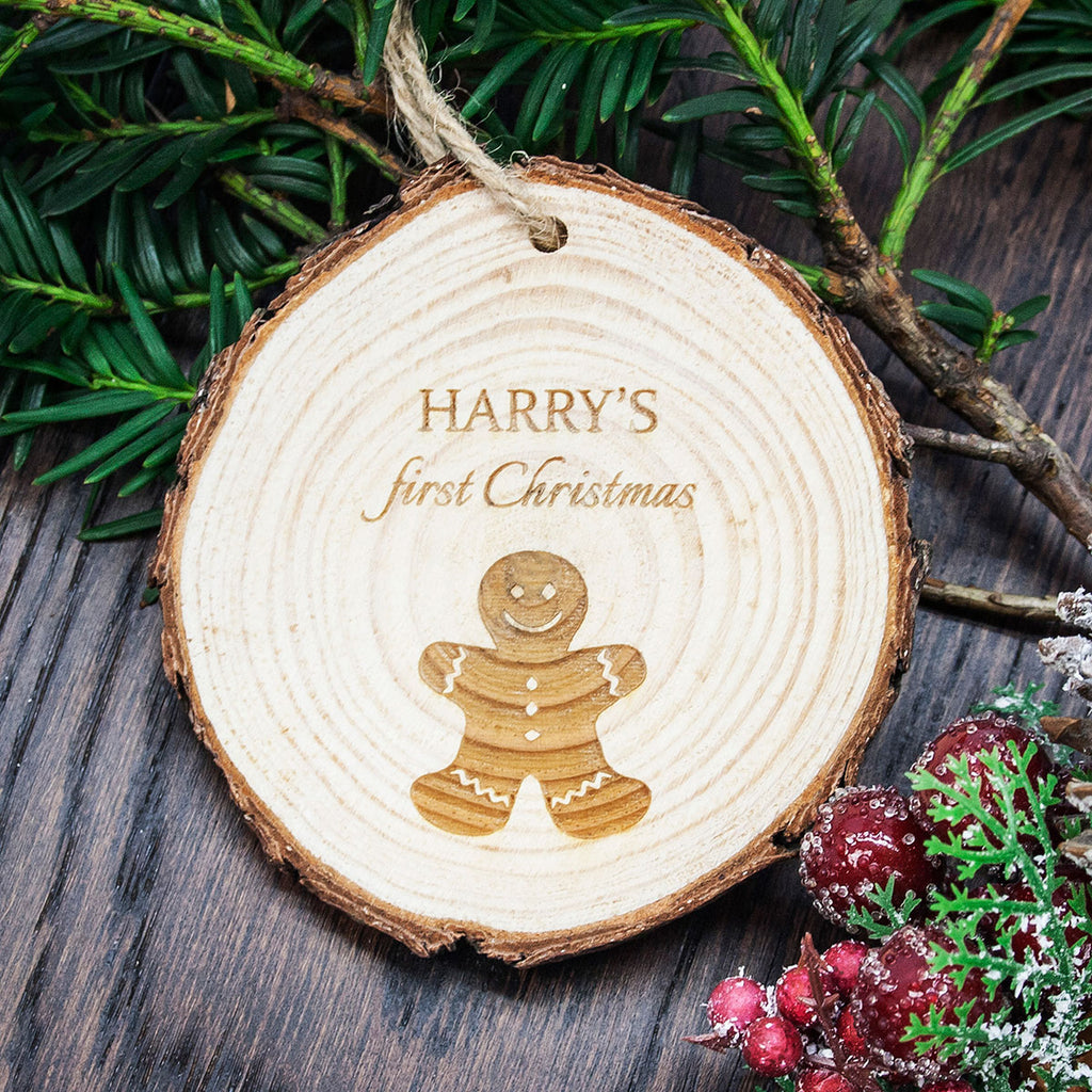 My First Christmas Gingerbread Man Decoration Personalised with Child's Name - Oh My Gift