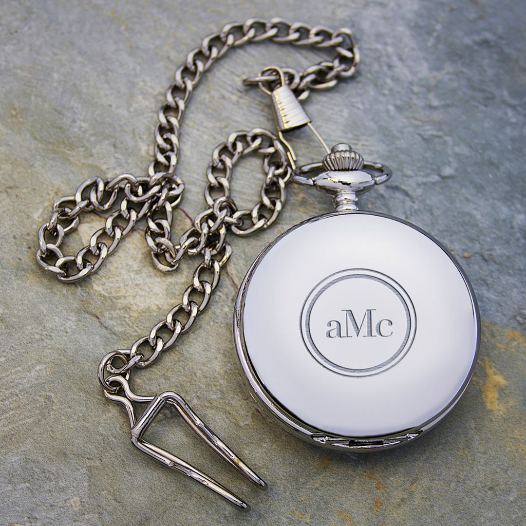 Silver Plated Pocket Watch Personalised with Enscription on back - Oh My Gift
