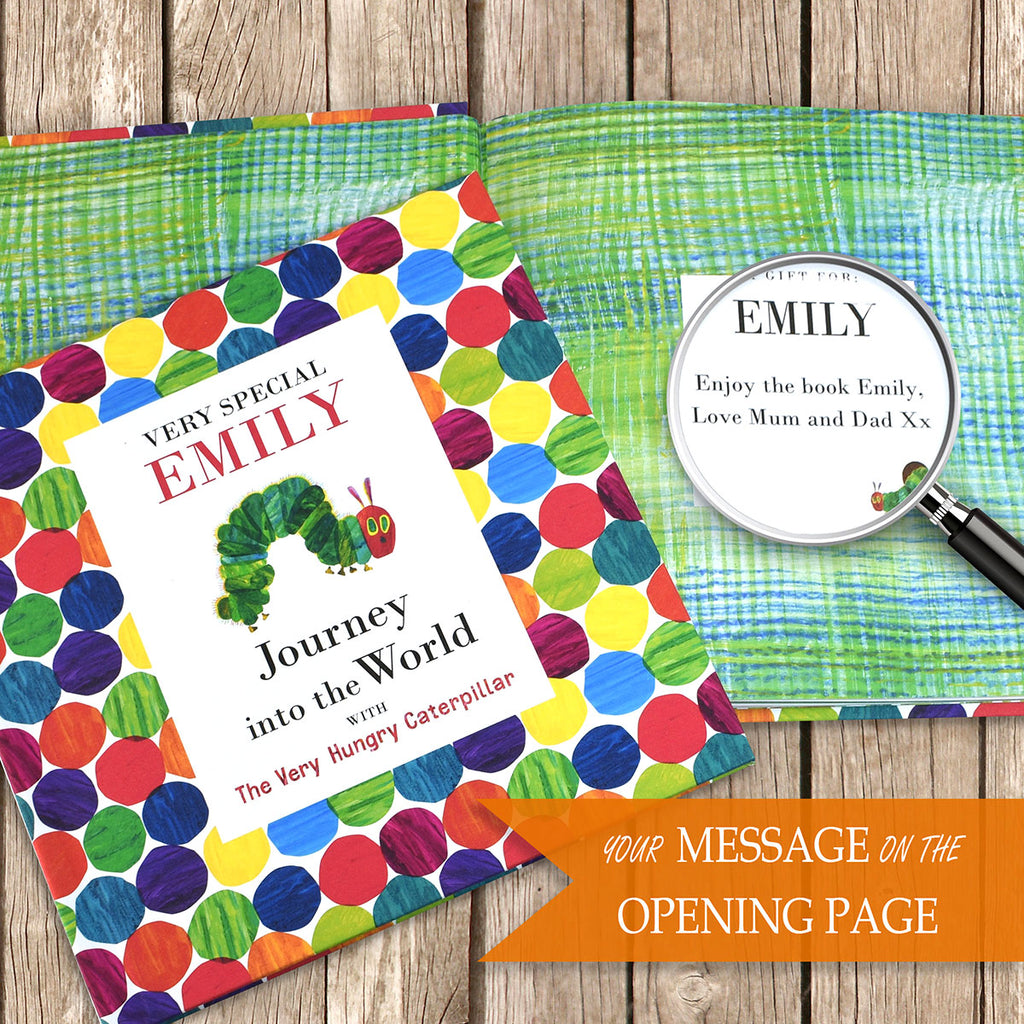 Personalised Very Hungry Caterpillar Book Showing Open Page - Oh My Gift