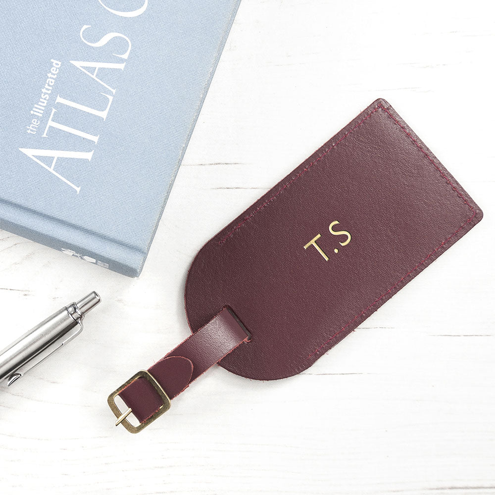 Personalised Burgundy Leather Luggage Tag - Present for Men - Oh My Gift
