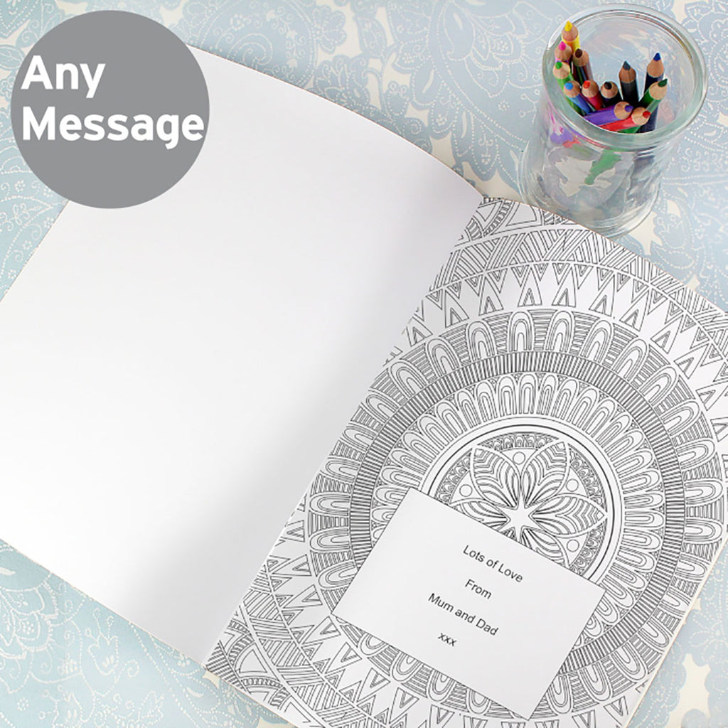 Mandala Colouring Book with personalised message - Oh My Gift