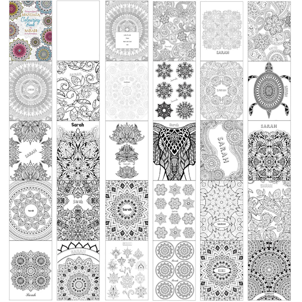 Personalised Mandala Colouring Book inside pages - Oh My Gift