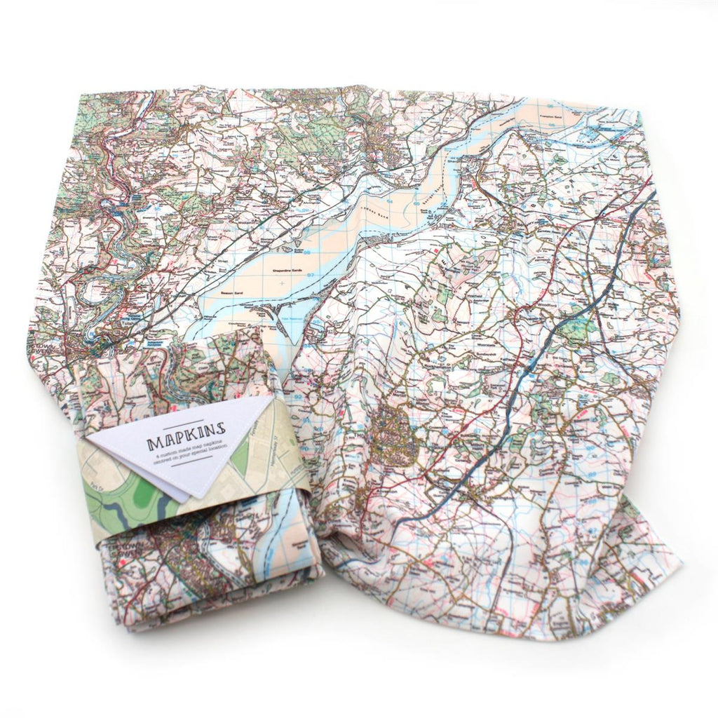 Map Napkins personalised to your UK location - Oh My Gift