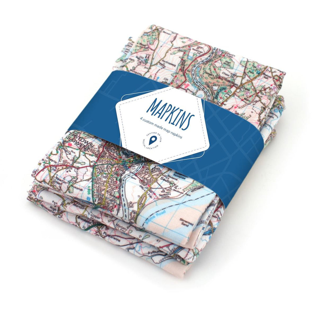 Map Napkins based on your UK location - Oh My Gift