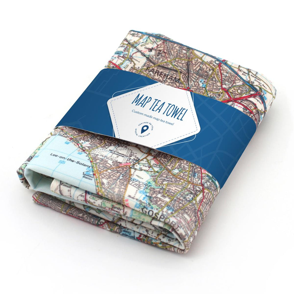 Personalised Map Tea Towel based on any UK location - Oh My Gift