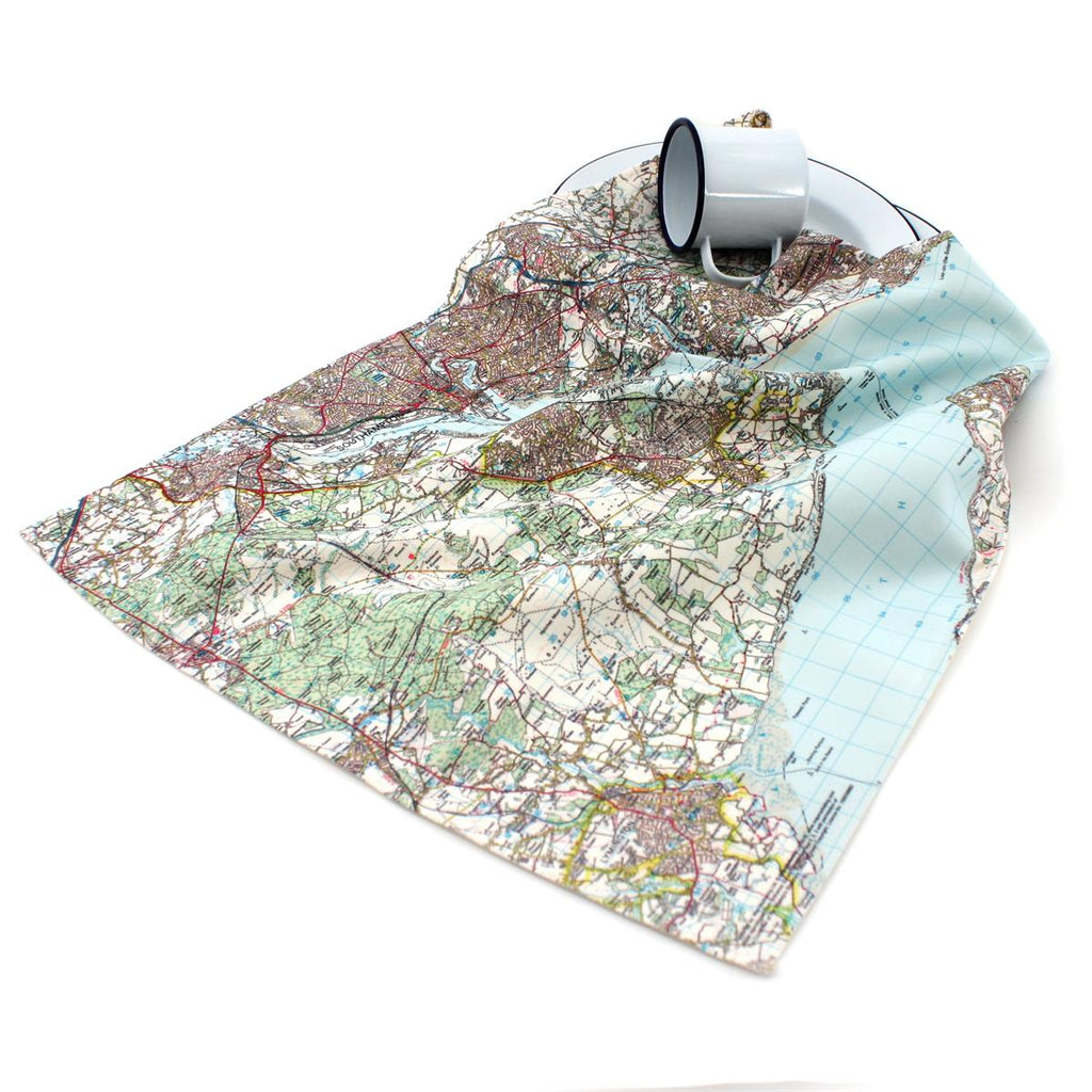 Map Tea Towel based on your UK location - Oh My Gift
