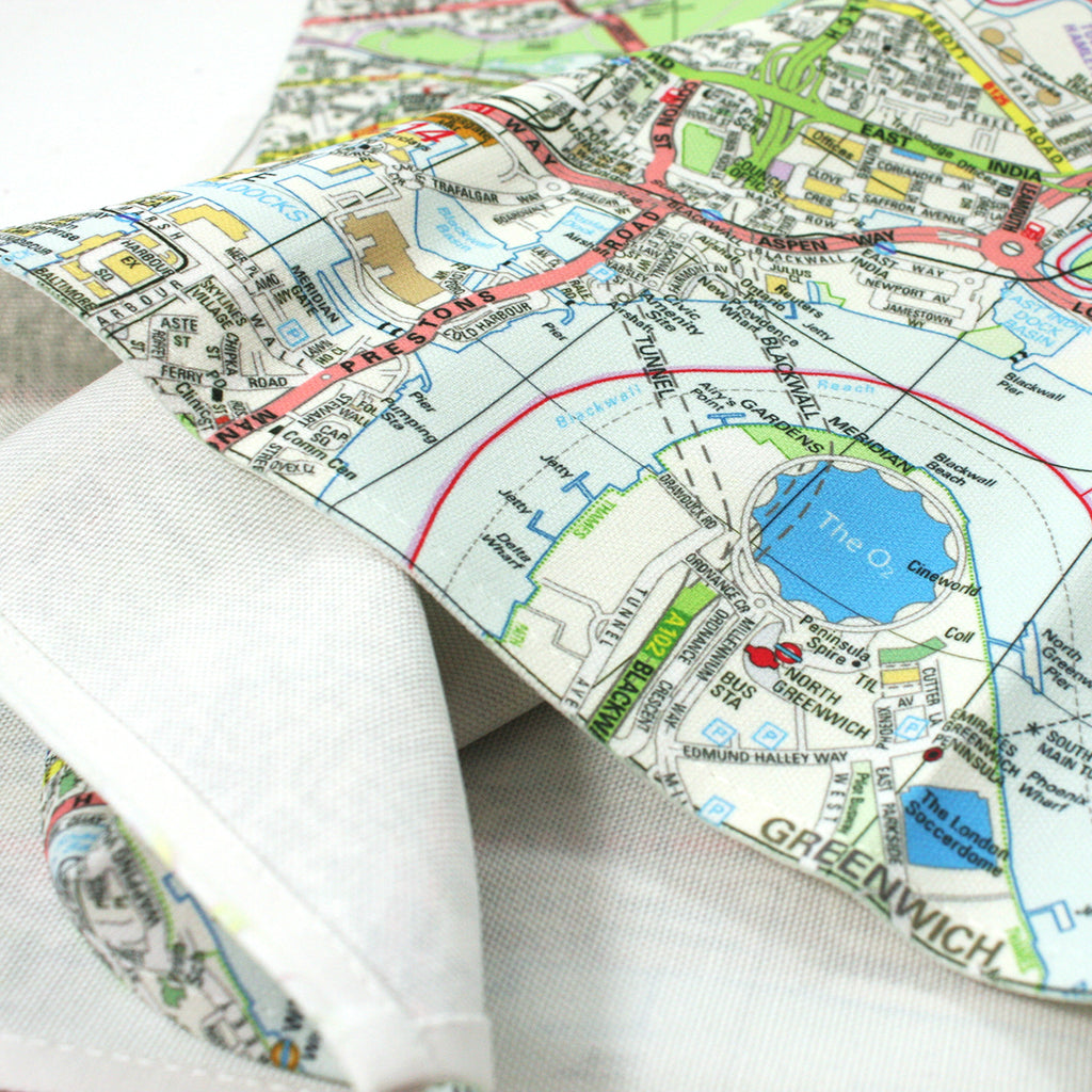 Personalised Map Tea Towel centred on any UK location - Oh My Gift
