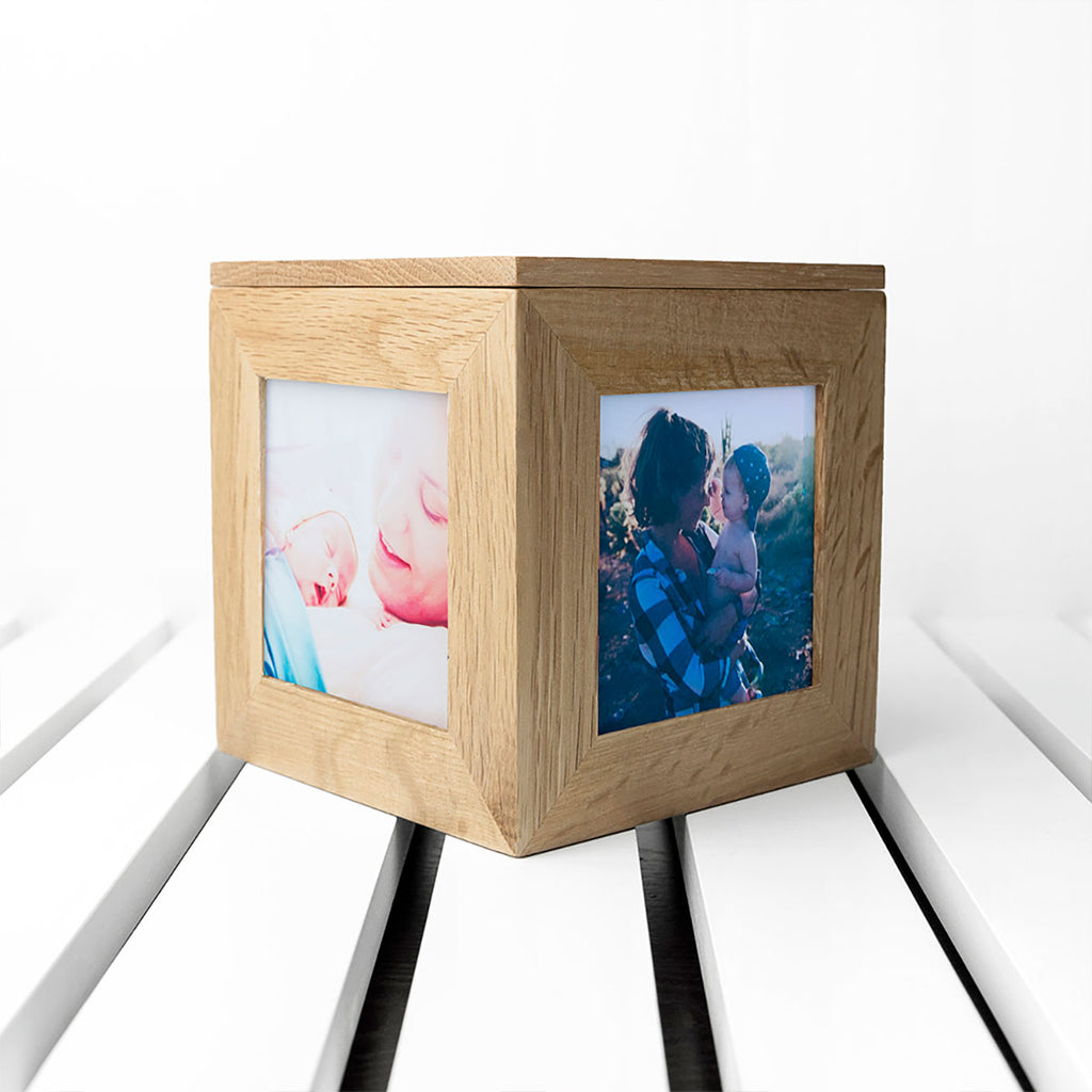 Personalised Happy Mother's Day Oak Photo Cube Showing Sides - Oh My Gift