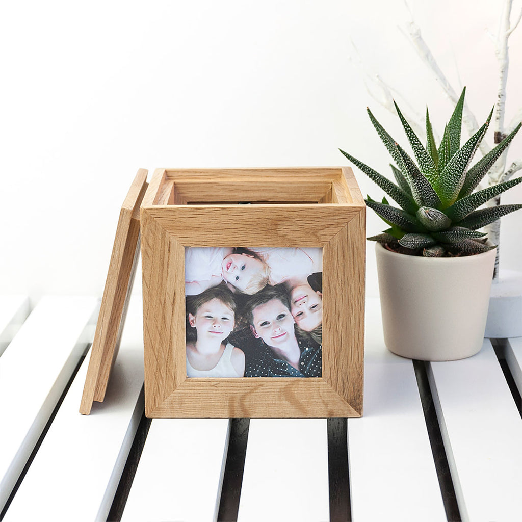 Personalised Happy Mother's Day Oak Photo Cube with Plant - Oh My Gift