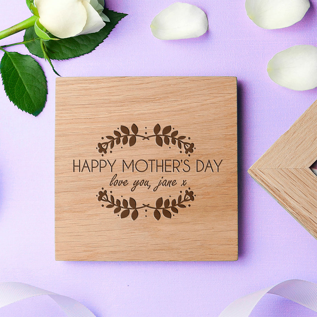 Personalised Happy Mother's Day Oak Photo Cube Lid - Oh My Gift