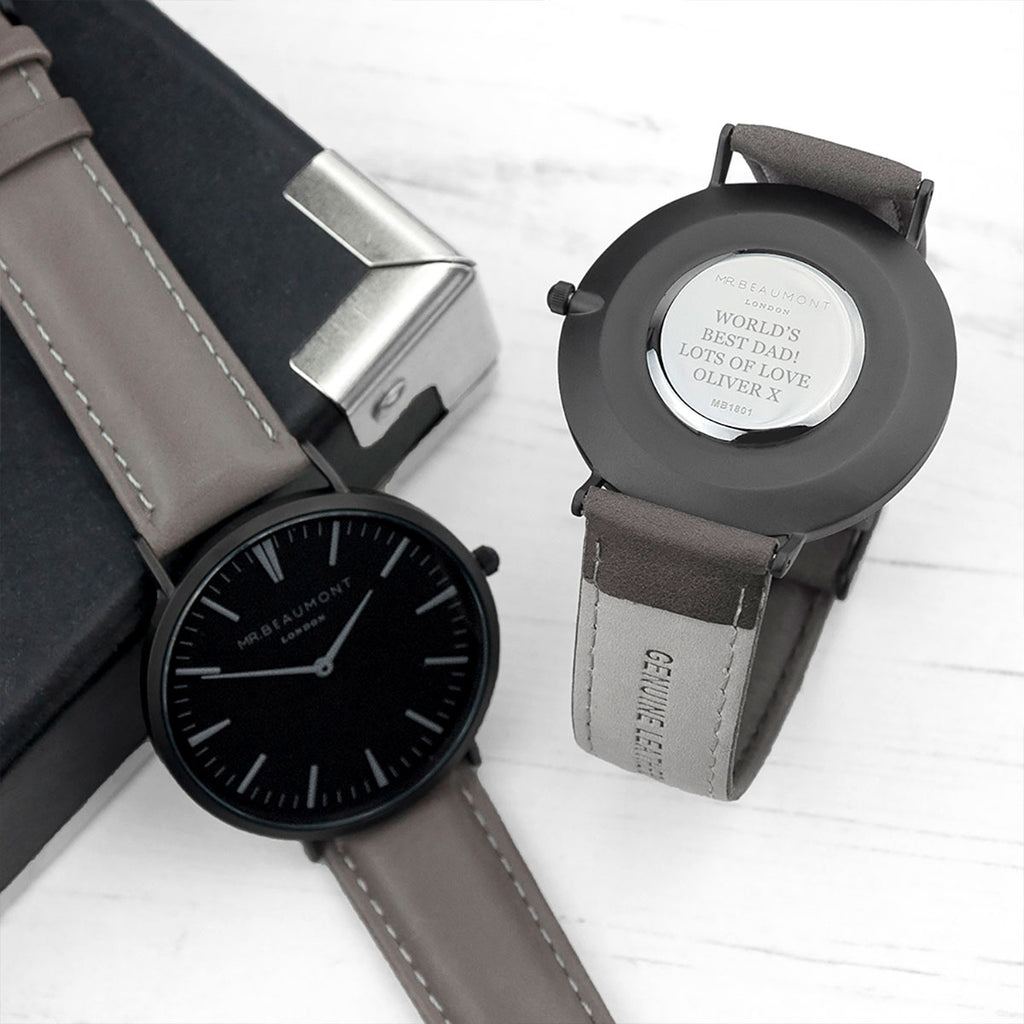 Personalised Mr Beaumont Men's Watch Showing Engraving - Oh My Gift
