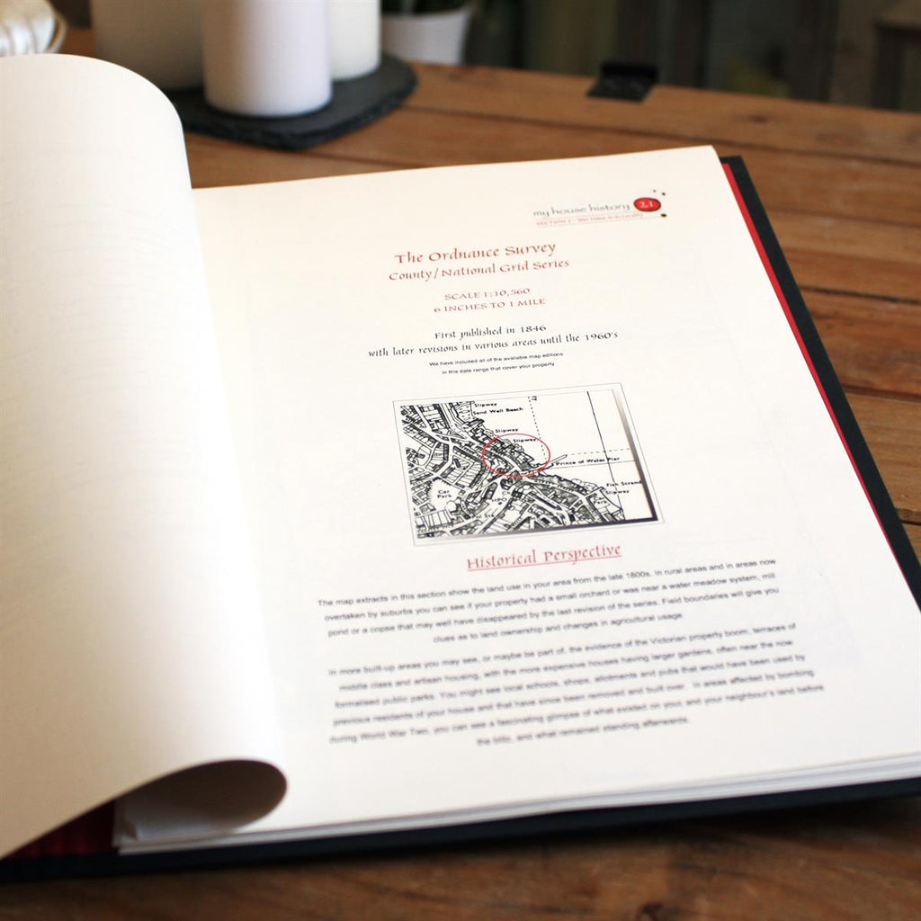 Personalised Portfolio containing 150 years of map records of your home showing inside front cover - Oh My Gift