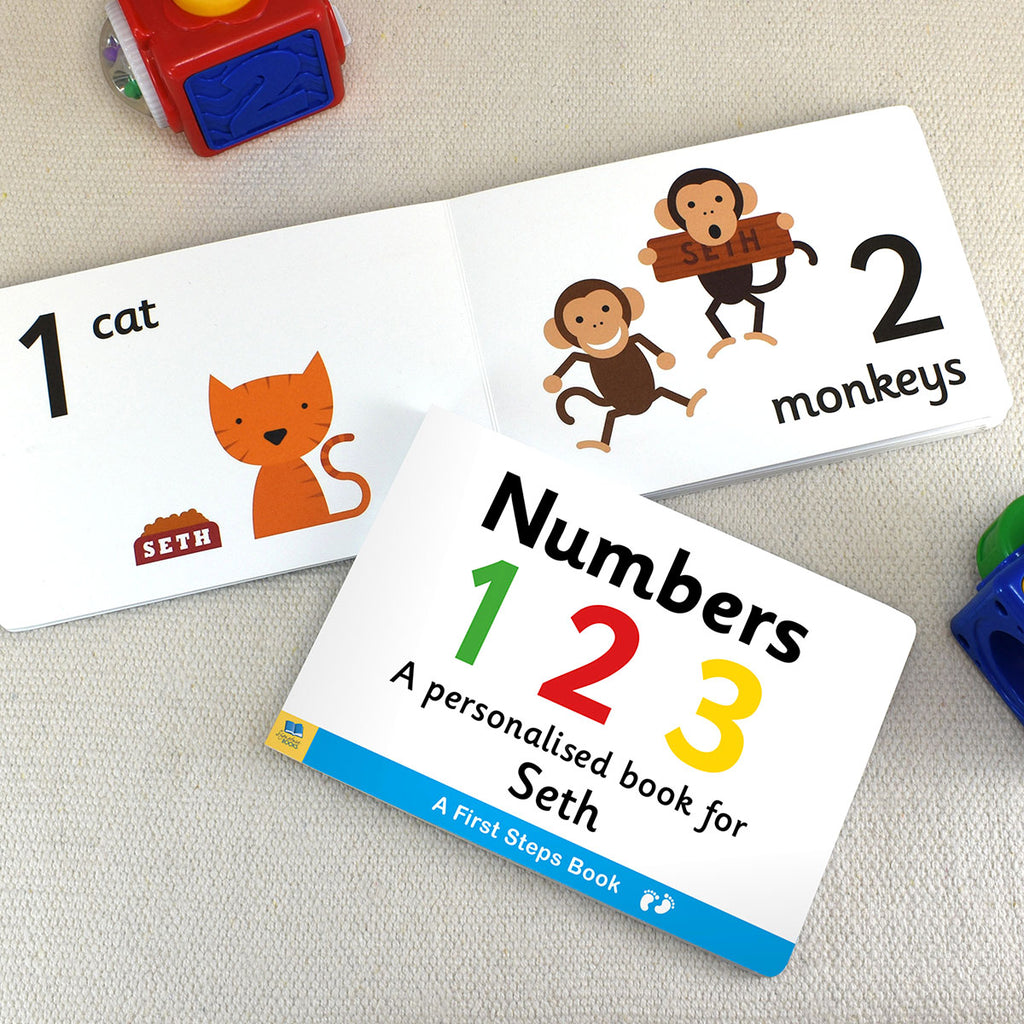 Personalised First Steps Numbers Board Book - Oh My Gift
