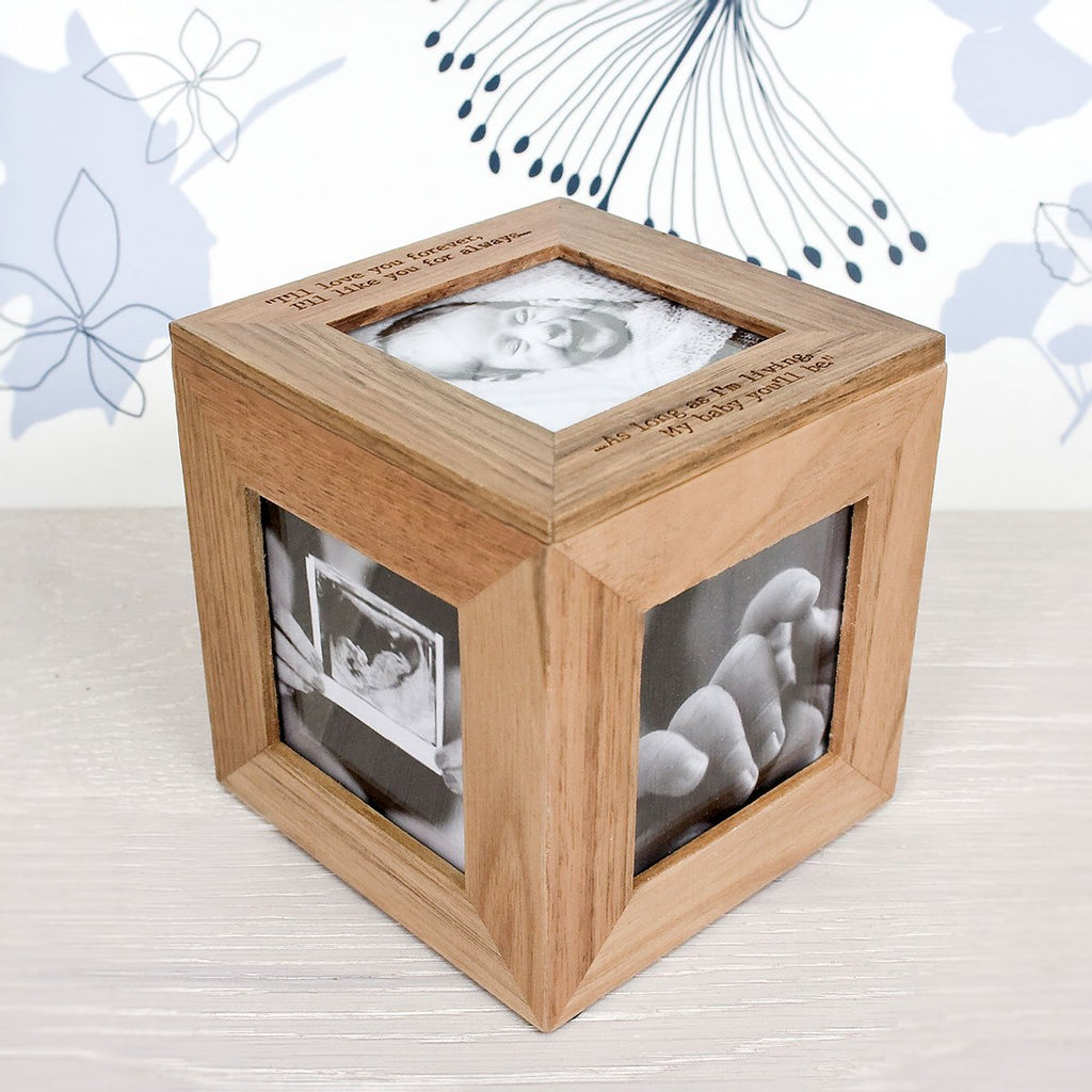 Oak Photo Cube Box Personalised with Name - Oh My Gift