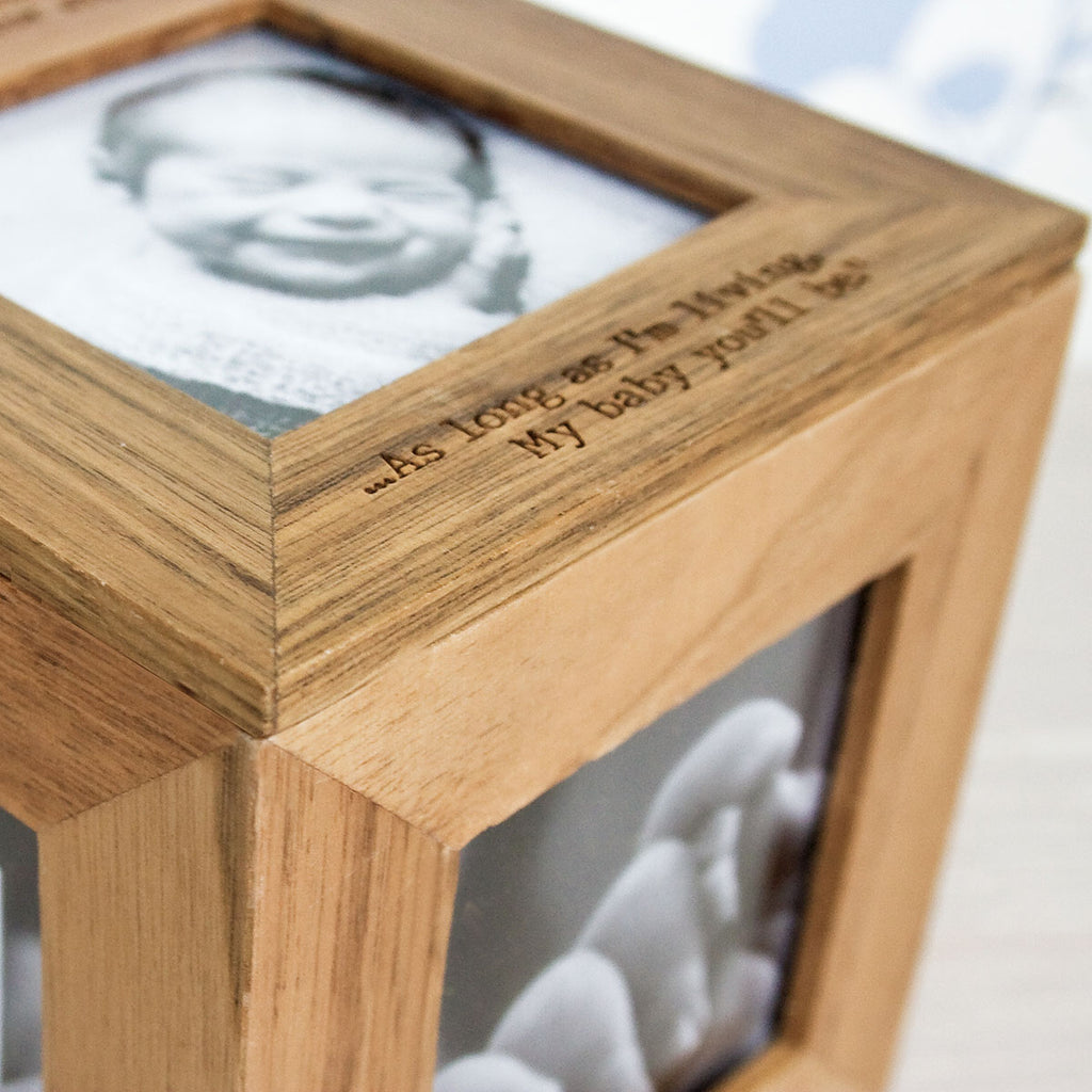 Oak Photo Cube Box Personalised with Name and Message - Oh My Gift